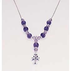Amethyst and Sterling Silver Necklace with Cross Pendant
