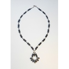 Black Onxy, Swarovski Crystal and Sterling Silver Pendant Necklace
