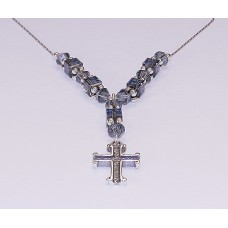 Blue Denim Swarovski Crystal Necklace with Cross Pendant