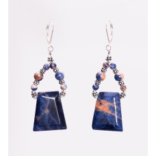 Orange Sodalite and Sterling Silver Trapezoid Earrings