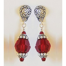 Deep Red Swarovski Crystal and Sterling Silver Earrings