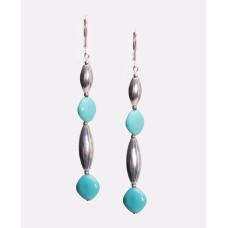 Kingman Turquoise and Sterling Silver Hand Made Navajo Melon Bead Earrings