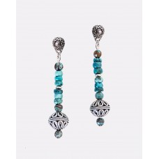 Kingman Denim Turquoise Sterling Silver Bali Earrings