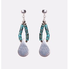 Kingman Teal Turquoise and Sterling Silver Teardrop Earrings