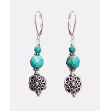 Faceted Turquoise and Sterling Silver Earrings