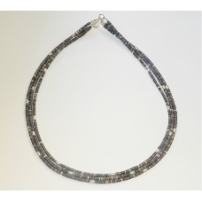 Oyster Shell and Navajo Sterling Silver Triple Strand Necklace