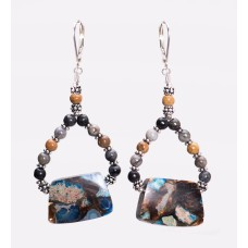 Blue Impression Jasper, Bronze and Sterling Silver Earrings