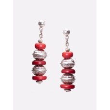 Navajo Sterling Silver and Red Coral Earrings