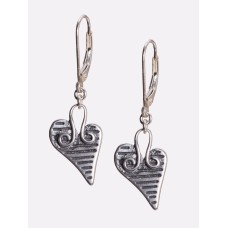 Sterling Silver Slanted Heart Earrings
