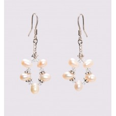 Peach Freshwater Pearl and Sterling Silver Earrings