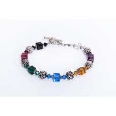 Multi Colored Swaravski Crystal and Sterling Silver Bracelet