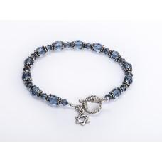 Blue Denim Swarovski Crystal Bracelet with Jewish 'Star of David' Charm