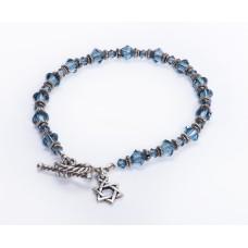 Blue Denim Swarovski Crystal Bracelet with Jewish 'Star of David' Charm II