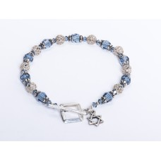 Blue Denim Swarovski Crystal Bracelet with Jewish 'Star of David' Charm III