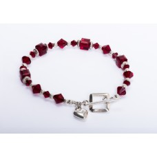 Swarovsi Red Crystal and Sterling Silver Bracelet