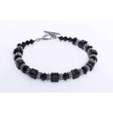 Jet Black Swarovski Crystal and Sterling Silver Bracelet