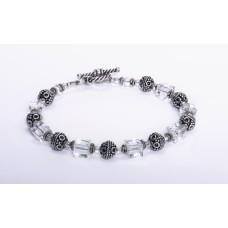 Swarovski Crystal Bali Sterling Silver Bracelet
