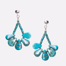 Kingman Turquoise Fanned Petal Earrings