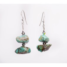 Kingman Turquoise Nugget and Swarovski Crystal Earrings