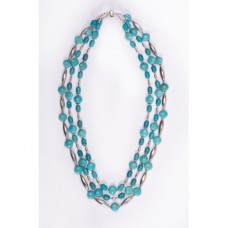 Triple Strand Kingman Turquoise and Sterling Silver Hand Made Navajo Melon Bead Necklace