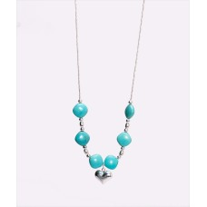 """Kingman Turquoise and Sterling Silver """"Puffy Heart"""" Pendant Necklace"""