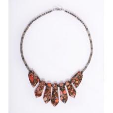 Orange/Coral Jasper Pendant Necklace