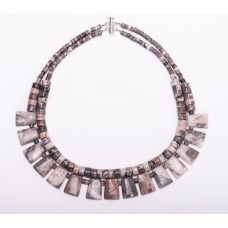 Pink Zebra Jasper Double Strand Collar Necklace