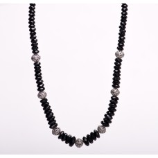 Black Faceted Graduated Onyx Bali Necklace