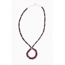Garnet Faceted Teardrop and Sterling Silver Necklace