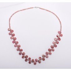 Rhodochrosite faceted Teardrop, Pink Opal and Sterling Silver Necklace