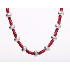 Navajo Sterling Silver and Red Coral Necklace