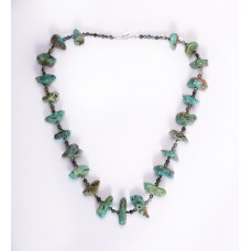 Kingman Turquoise Nugget, Swarovski Crystal and Jasper Necklace