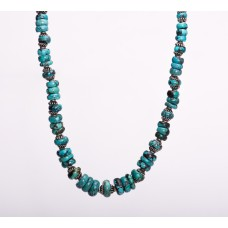 Graduated Turquoise Sterling Silver Bali Necklace
