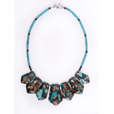 Turquoise and Bronze Pendant Necklace