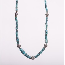 Kingman Graduated Denim Turquoise Sterling Silver Bali Necklace