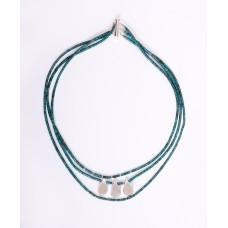 Triple Strand Kingman Teal Turquoise and Sterling Silver Teardrop Necklace