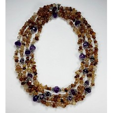 Amethyst, Copper-Quarts and Sterling Silver Double Strand Long Necklace