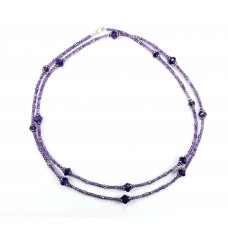 Amethyst and Sterling Silver Long Necklace