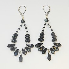 Black Onxy, Swarovski Crystal and Sterling Silver Pendant Earrings