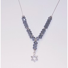 Blue Denim Swarovski Necklace with Jewish 'Star of David' Pendant