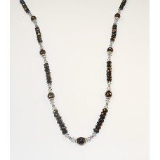 Black Faceted Onyx Long Necklace