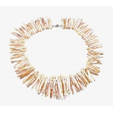 Peachy Pink Biwa Stick Pearl Necklace