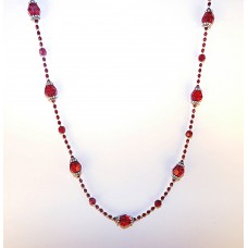 Deep Red Swarovski Crystal and Sterling Silver Long Necklace