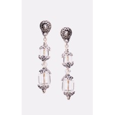 Swarovski Crystal Clear Cube and Sterling Silver Bali Earrings