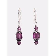 Sterling Silver and Swarovski Amethyst Crystal Earrings