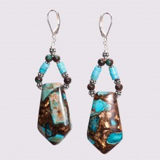 Turquoise and Bronze Pendant Earrings