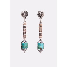 Turquoise, Oyster Shell and Sterling Silver Earrings