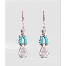 Kingman Turquoise and Sterling Silver Teardrop Earrings