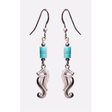 Kingman Turquoise Sea Horse Earrings