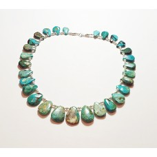 *Kingman Turquoise Petal and Sterling Silver Necklace*